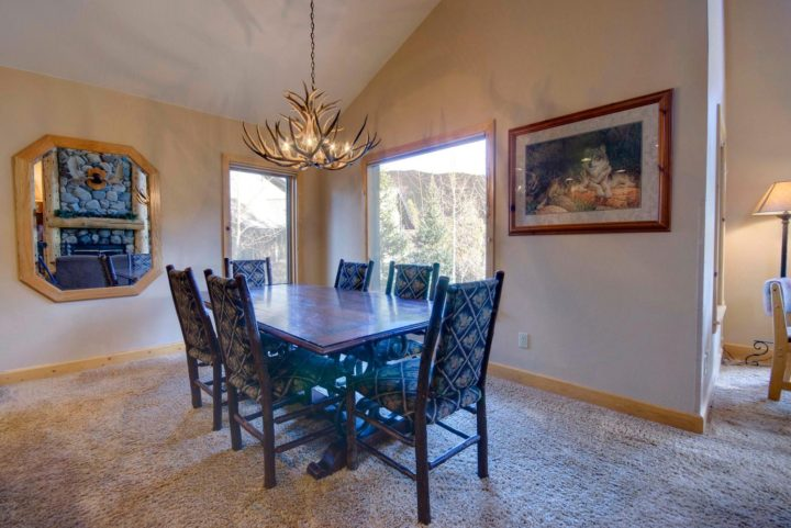 Dining room with mountain views