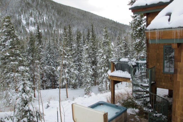 Hot tub view in winter.