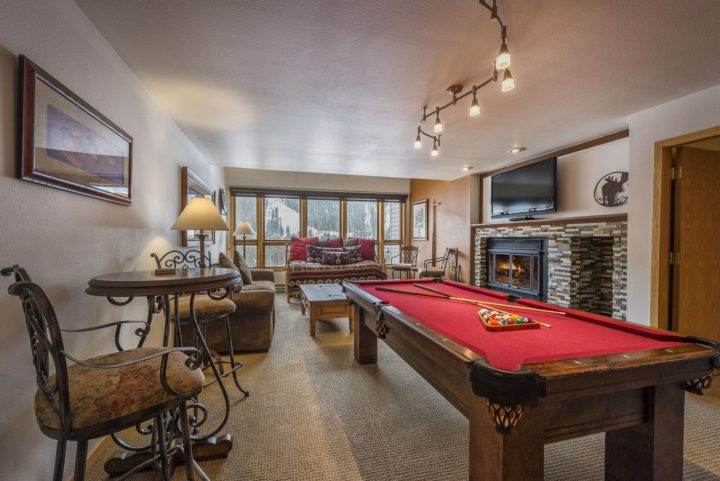 Upper living room with pool table