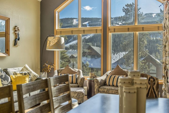 Ski run views from living room
