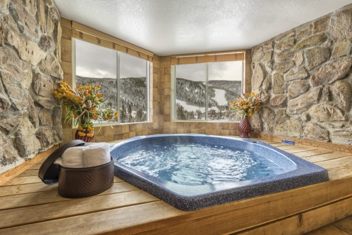 Ski run view from private hot tub