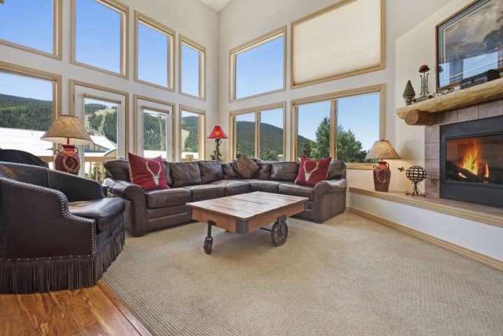 Living room has vaulted ceiling and two walls of windows