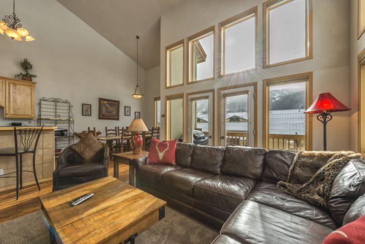 Living room has door to private deck