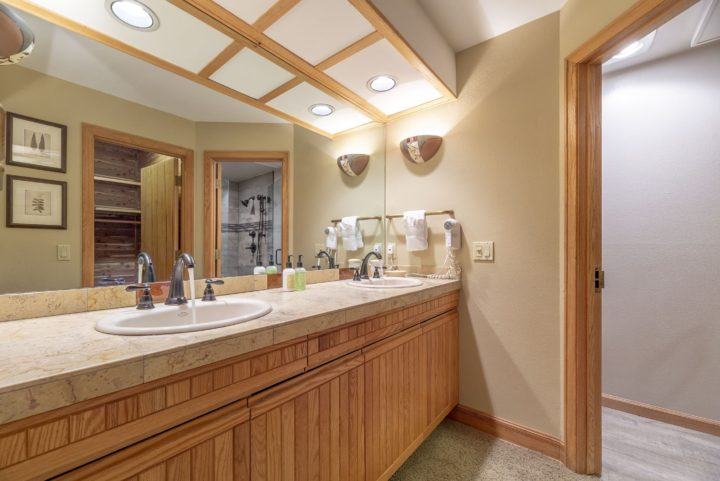 Master bath (private to Bedroom 1; double sinks)