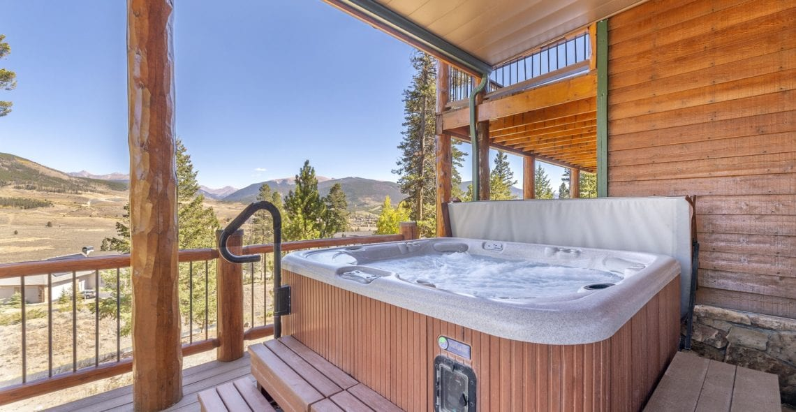 Outdoor hot tub area near Game Room. Exceptional view.