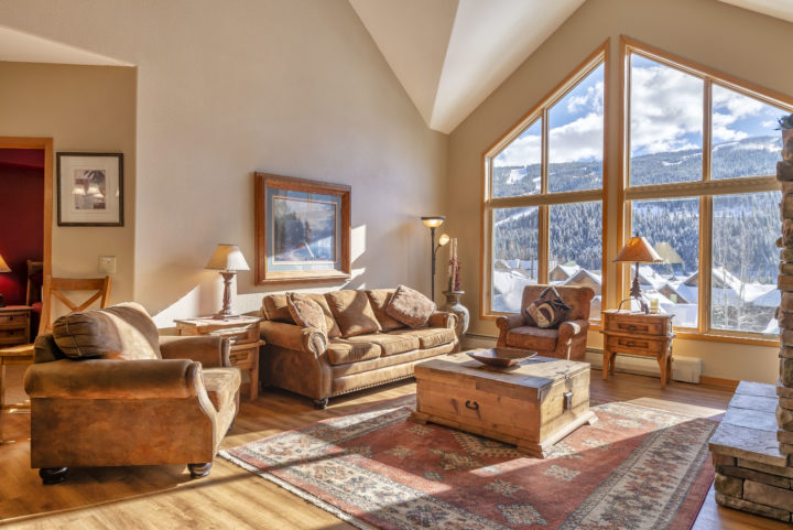 Mile-wide view of the ski runs from living room, 4 bedrooms, and deck.