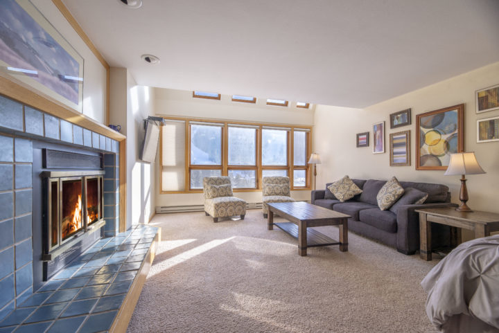 Living Room 2 (Upper level)--2nd fireplace, TV3, Queen foldout, wide view of the ski runs.