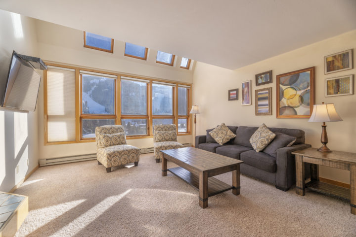 Living Room 2 (Upper level of unit). Mile-side view of the ski runs