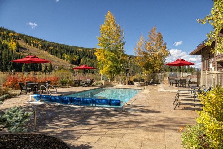 Heated outdoor pool area