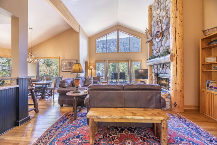 Great Room area--vaulted ceiling, stone fireplace, flat screen TV, Queen fold-out