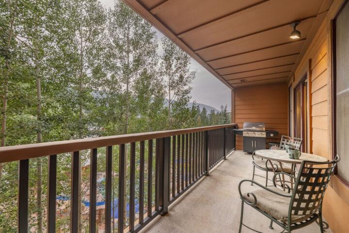 Private deck has views of pool facilities. Open ski run views in winter.